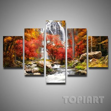 5 Pieces Multi Pictures Colorful Forest Waterfall Beautiful Landscape Paintings For Living Room Wall Decor Canvas Art No Frame