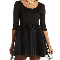 Scalloped Organza Skater Dress by Charlotte Russe