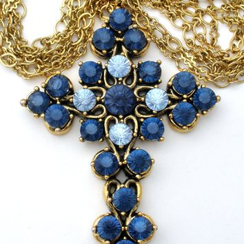 Large Blue Rhinestone Cross Necklace