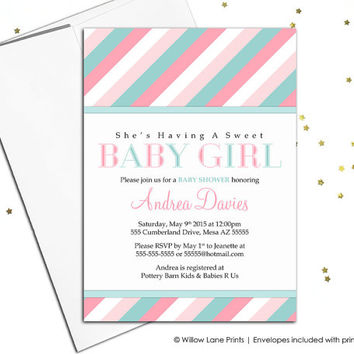 Digital baby shower invitation for girls baby shower invite, pink and mint baby shower, printable modern stylish stripes unique - WLP00775