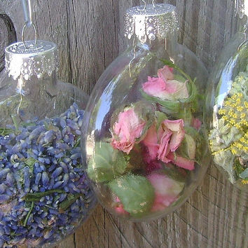 Dried flower clear glass ornaments, Clear unique shape ornament with dried flowers, Disc shape bulbs, Lavender, Feverfew, Yarrow, Delphinium