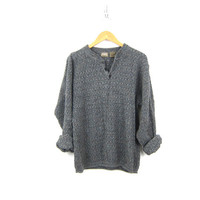 Oversized Gray Sweater Button Up Henley Sweater Slouchy Boyfriend Pullover Textured Cotton Knit Sweater Grey Sweater Mens Medium