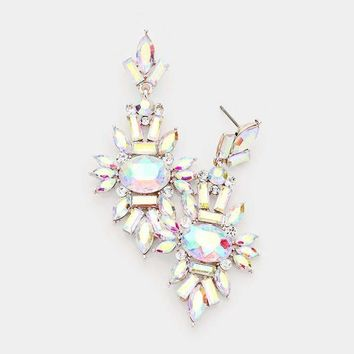 Marquise Crystal Cluster Evening Earrings
