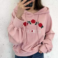 Women Fashion Embroidery Rose Flower Top Sweater Pullover Hoodi