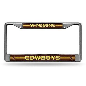 Wyoming Cowboys NCAA Glitter Bling Chrome License Plate Frame Car Truck Wall