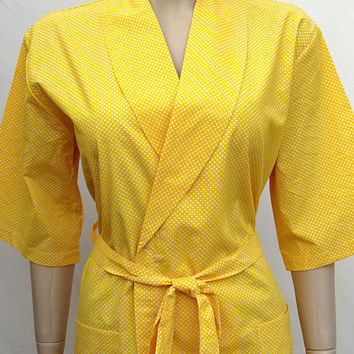 Women's yellow colour dots patterned soft Turkish cotton kimono robe, bridal robe, bridesmaid robe, summer dressing gown.