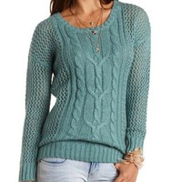 Cable Knit & Open Weave Tunic Sweater