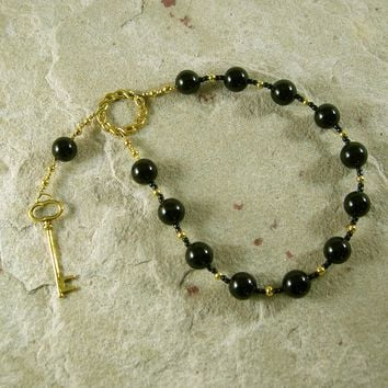 Hekate (Hecate) Pocket Prayer Beads in Black Onyx: Greek Goddess of Magic and Witchcraft
