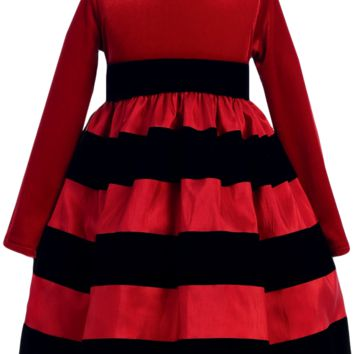 Red Velvet & Black Striped Taffeta Girls Holiday Dress 6m-10