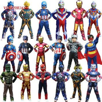 VEVEFHUAG Christmas Boys Muscle Super Hero Captain America Costume SpiderMan Hulk Batman Avengers Costumes Cosplay for Kids Boy
