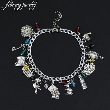 Movie Alice in Wonderland Charm Bracelet Clown Hat Rabbit Accessories Bracelet Fashion Jewelry For Women Gifts