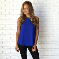 Woven Back Blouse In Royal Blue
