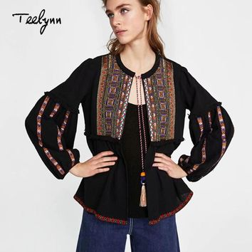TEELYNN boho jacket 2018 autumn black Cotton ethnic geometric Embroidery loose puff long sleeve coats chic Women Coat Outerwear