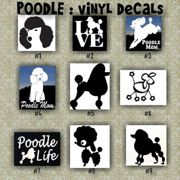 "MEDIUM 7-9"" - POODLES vinyl decals - 1-27 - car decal - poodle stickers - car sticker - laptop decal"