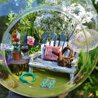 "Mom's Garden Terrarium Kit ~ Bench and Table with Drink ~ Gardening Tools in Stone Basket ~ Rose Trellis ~ 8"" Globe ~  Gift for Mom ~ Spring"