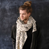 PLAID Blanket SCARF . Mens Gift Boyfriend Valentines Large Wrap Beige Brown Checkered Wool Cashmere Shawl Oversized Neck Warmer