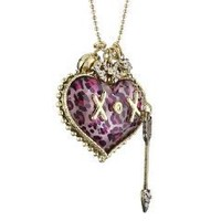 "Betsey Johnson ""Lovely Leopard"" Heart Charm Necklace"