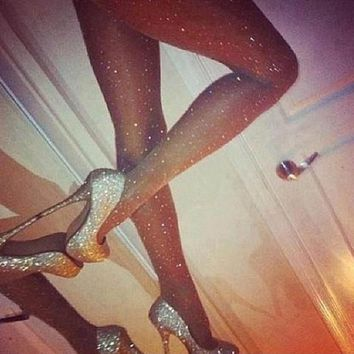New Sexy Party Women Stretch Bling Crystal Rhinestone Pantyhose Tights Stockings Black/Gray/Coffee/Skin Color