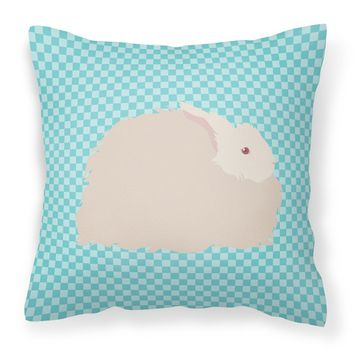 Fluffy Angora Rabbit Blue Check Fabric Decorative Pillow BB8133PW1414