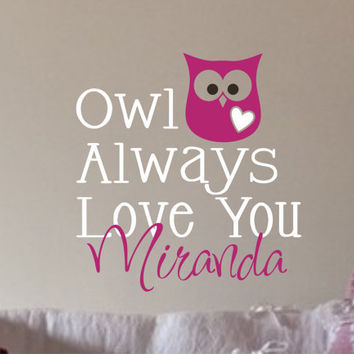 Owl Monogram Childrens Decor Vinyl Decal Vinyl by JustTheFrosting