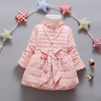 2016 New Arrival Girls Winter Warm Cotton Parkas Brand Princess Baby Girls Thick Overcoat Girls Trench dress Jacket Q171