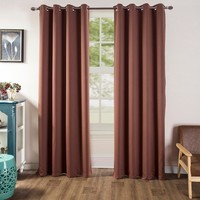 Wine Blackout Room Darkening Grommet Curtains Window Panel Drape