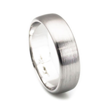 14k white gold brush finish comfort fit men's wedding band 6mm