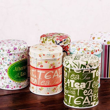 Retro Style Multicolor Flower Home Kitchen Coffee Tea Can Container Jar Tin Metal