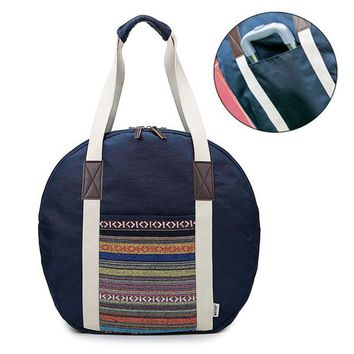 Women National Style Canvas Stripe Travel Bag Luggage Bag  Hobo Handbag
