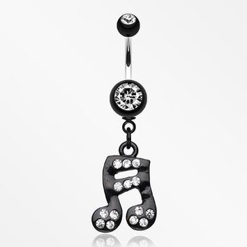 Sparkle Fun Music Note Dangle Belly Ring