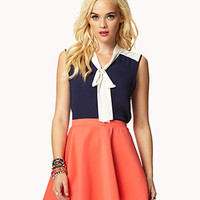 Colorblocked Neck-Tie Shirt