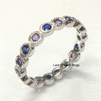 Blue Sapphire Amethyst Wedding Band Eternity Anniversary Ring 14K White Gold