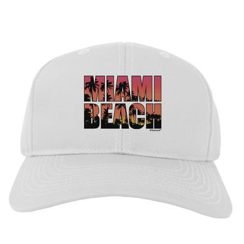 Miami Beach - Sunset Palm Trees Adult Baseball Cap Hat by TooLoud