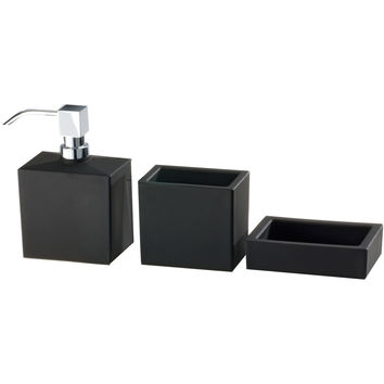 DWBA Bathroom Soap Lotion Dispenser, Toothbrush Holder, Soap Dish Set - Glass