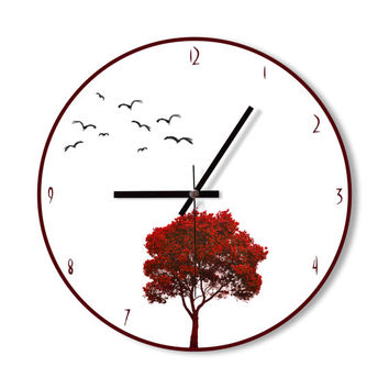 Wall Clock red tree clock home decoration wall art modern blue simple clock bedroom living room office clock
