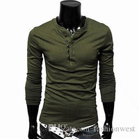 New Fashion Explosion Models Mens T-shirt Solid Bottoming Long-Sleeved T-shirt Korean Clothing
