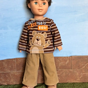 18 Inch Boy Doll Clothes, Brown Striped Bear Shirt, Tan Corduroy Pants, 18 Inch Boy Doll Shirt and Pants, Winter Doll Clothes, Upcycled