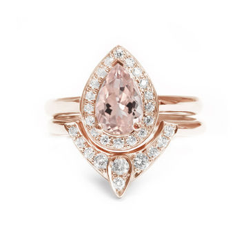 Pear Morganite Engagement Ring with Matching Side Diamond Band - The 3rd Eye