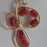 Gold Wire Wrapped Red Coral Pendant Necklace