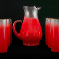 Red Blendo West Virginia Glass Serving Pitcher and Eight Glasses - Perfect Gold Leaf Rims