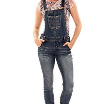 Women's Juniors Denim Overalls Wall Flower