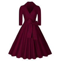 Womens Black Navy Blue Autumn Winter Dresses 2016 Vintage Robe Femme 1940s 50s 60s Retro Pin Up Rockabilly Swing Party Dress