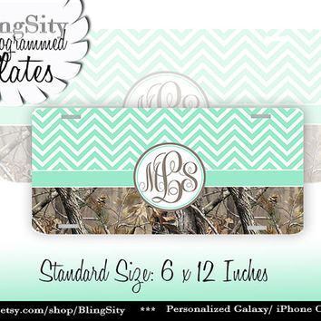 Mint Chevrons Monogram License Plate Metal Wall Sign for Auto Car Truck Tags Personalized Custom Girl Vanity Tree Camo Country
