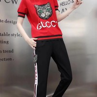 """Gucci"" Women Casual Fashion Sequin Cat Head Letter Multicolor Stripe Hooded Short Sleeve Trousers Set Two-Piece Sportswear"