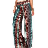 Mint/Red/Black Palazzo Pants