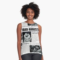 'Toad Arrested Newspaper' Contrast Tank by AliceCorsairs