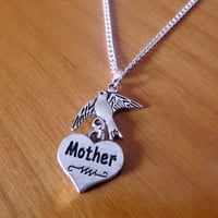 Mother MoM Flying Bird Necklace, Swallow pendant, Love Mom Charm, Heart Mom Charm, Christmas Gift, Silver plated Necklace Gift.