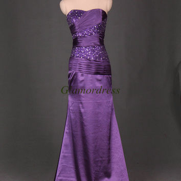 long purple taffeta prom dresses with sequins and rhinestone /unique sweetheart gowns for holiday party / cheap beaded evening dress on sale