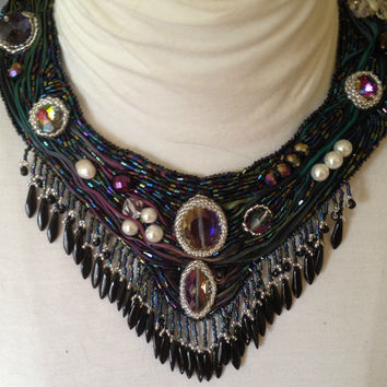 Boho Peacock Dreams Beaded Statement Necklace, Teal and Purple, Shibori Ribbon Necklace, Tribal Necklace, Statement Jewelry, Collar Necklace