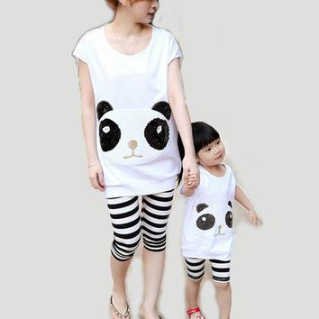 CREYL 2016 Summer New Parent-Child Matching Outfits Mother Daughter Panda Sequined Clothing Set Mom and Me Cotton Striped Family Looks